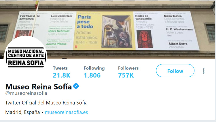 Perfil en Twitter del Museo Reina Sofía