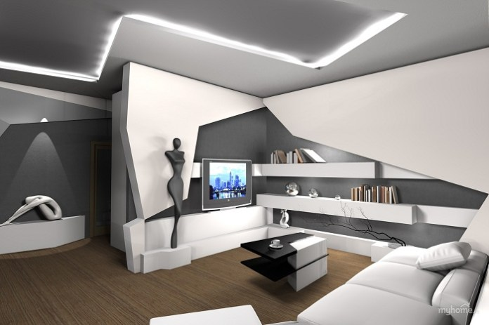 Futuristic Living Room Interior Design Concept - DDR