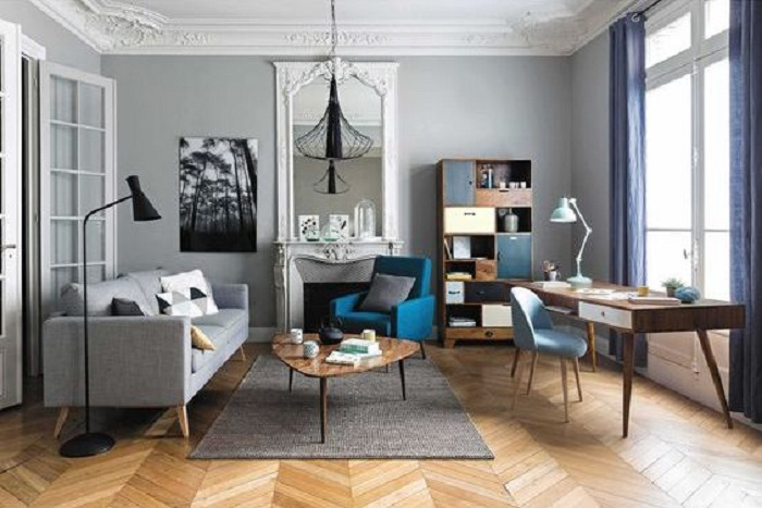 Creative Home Office Combined With Living Room For Apartment Ddr