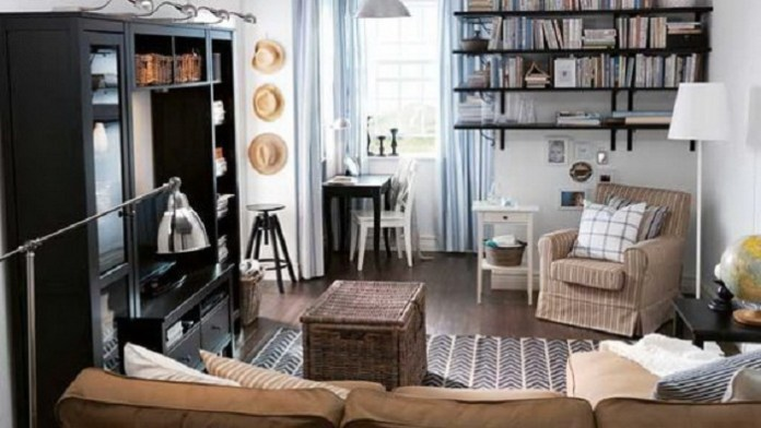 Creative Home Office Combined With Living Room For Apartment ...