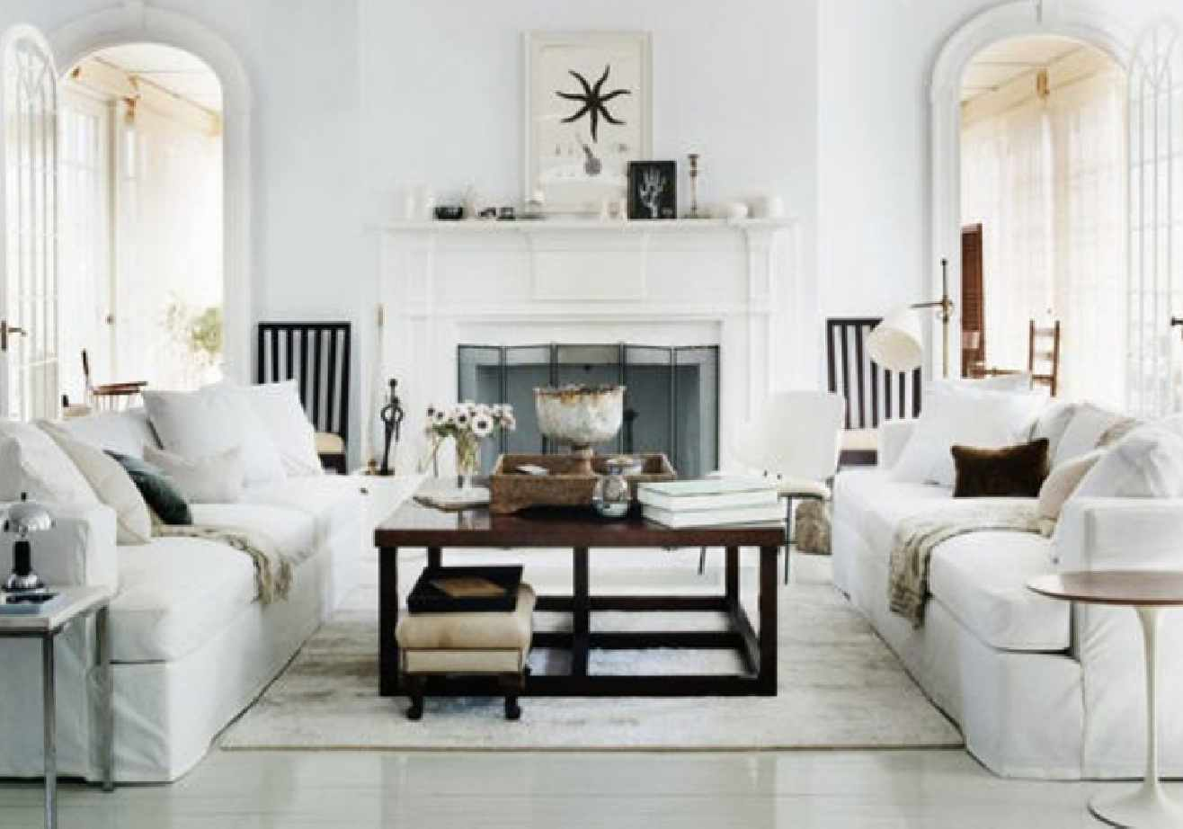White Living Room Rustic Vintage Style Decorating - DDR