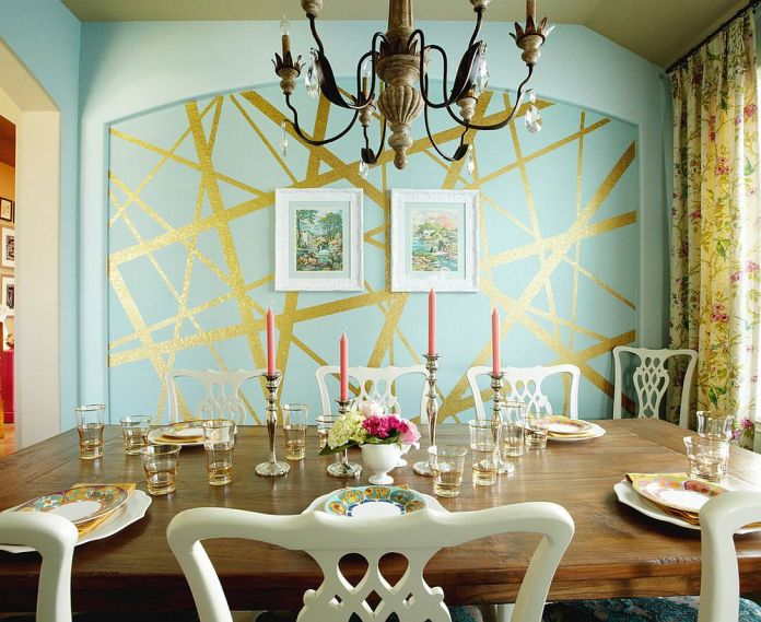 Dining Room with gold accent