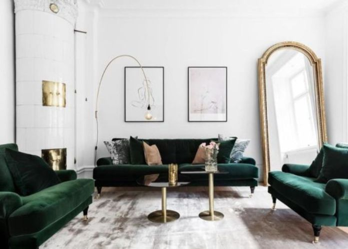 living room with gold accent