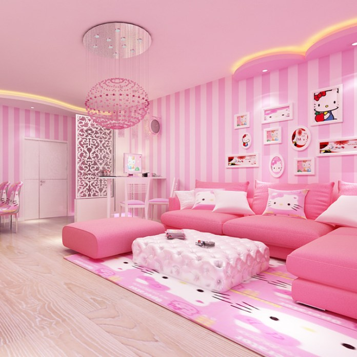 Pink Living Room with Beautiful Lighting