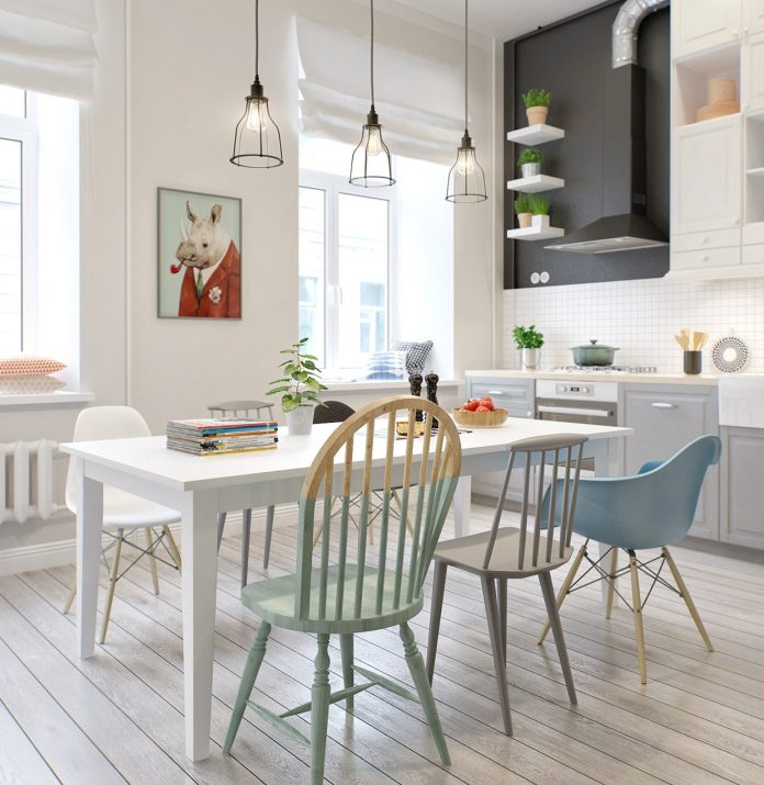 Scandinavian Dining Room with Unique Chair Designs
