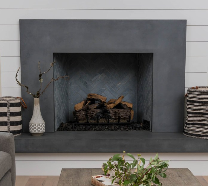 Aesthetic Concrete Fireplace