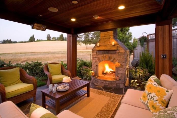 Stone fireplace on terrace