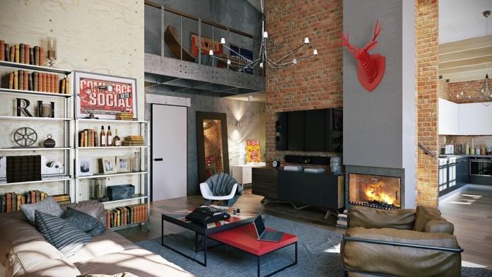 Industrial Rustic Design - Industrial Living Room
