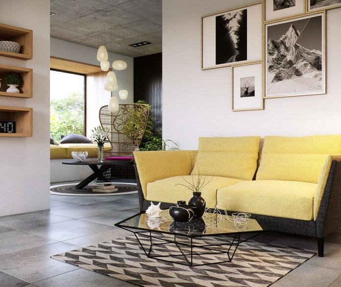 Yellow Sofa in Monochrome Interior