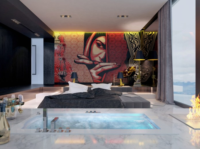 Red Bedroom with Wall Murals