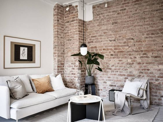 contrasting wall texture