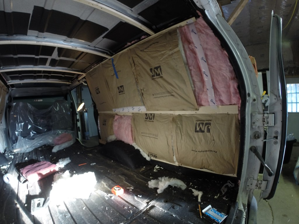 Van driver's side fiberglass insulation