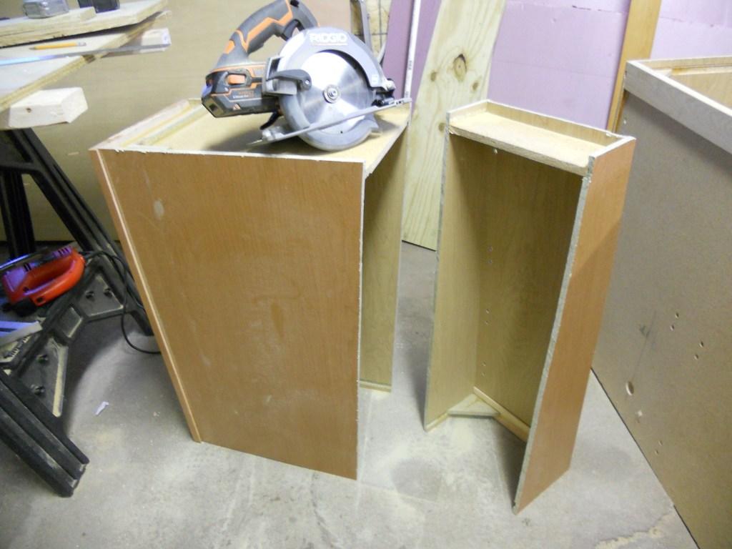 Retrofitted van kitchen cabinet