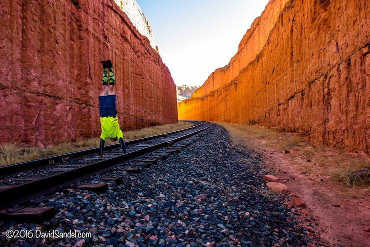 VanLife Railroad Track handstand in Utah