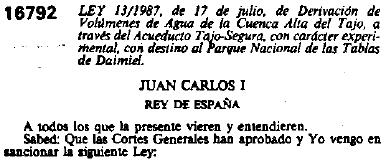 Ley 13-1987 Trasvase Tajo-Guadiana