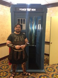 I did some Cosplay. Here I am as the Last Centurion with the Tardis.