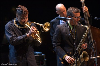 Photo of David Sills on stage at the Disney Concert Hall with David Benoit and Christian Scott at KJazz concert June 2013