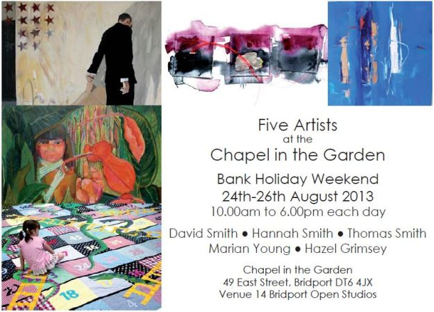 Flier for Five Artists at the Chapel in the Garden
