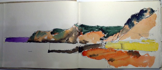 A line and wash sketchbook entry of the coast west of West Bay
