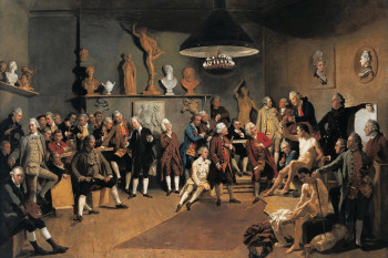 The founding Royal Academicians in a painting by Johan Zoffany