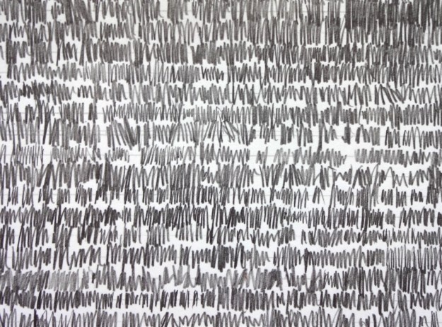 Start of a graphite erasure drawing by David Smith