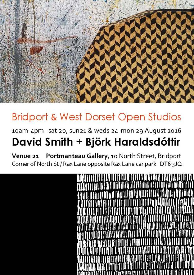 Bridport Open Studios flyer for Portmanteau Gallery