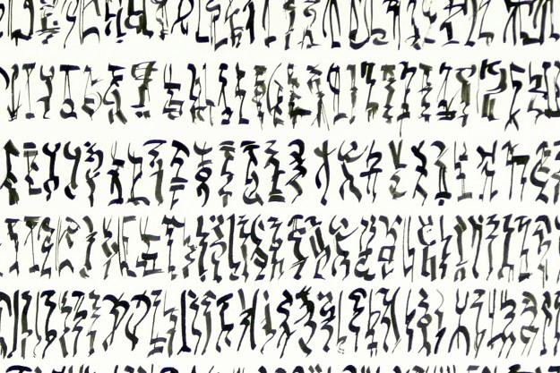 """The Instruction of Prophesy"" (detail) asemic drawing Indian Ink on paper by David Smith"