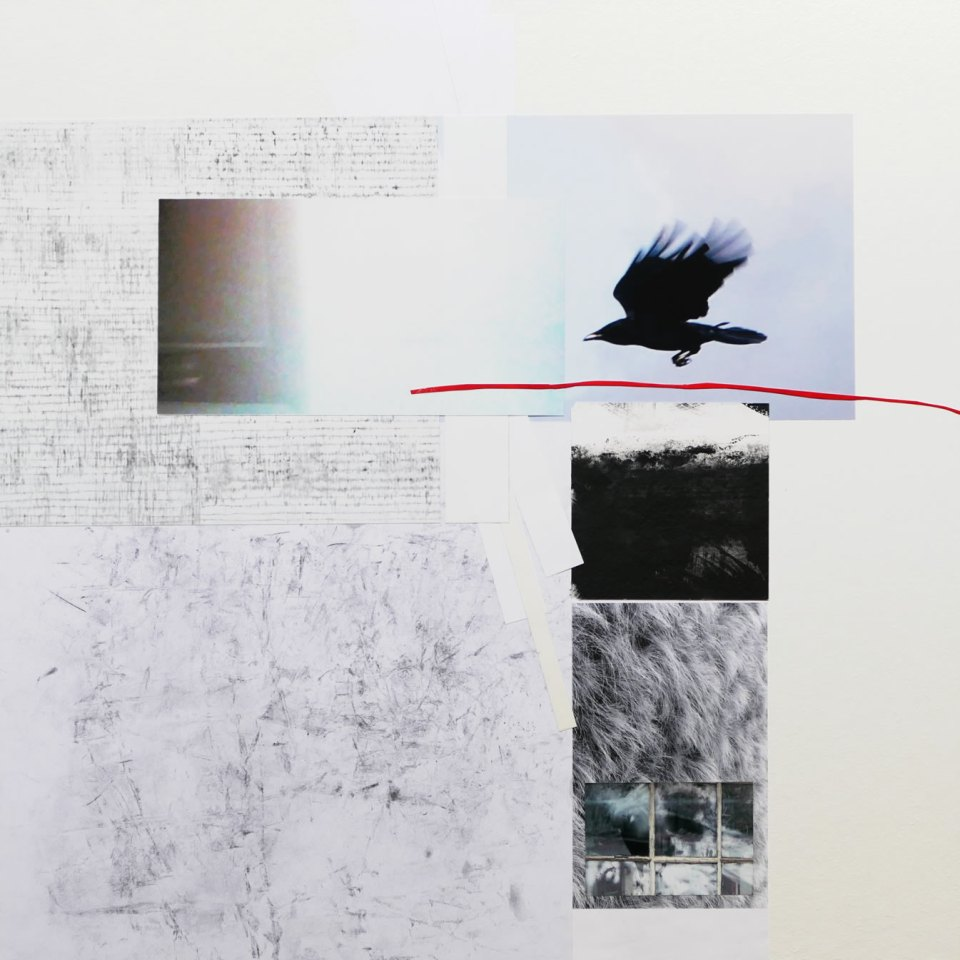 Minimalist collage by David Smith in greys with rook and crow elements