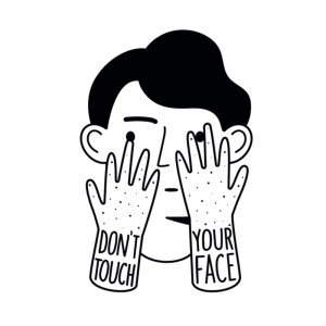 Doodle vector illustration with man head and touching face hands. Don't touch your face lettering phrase.