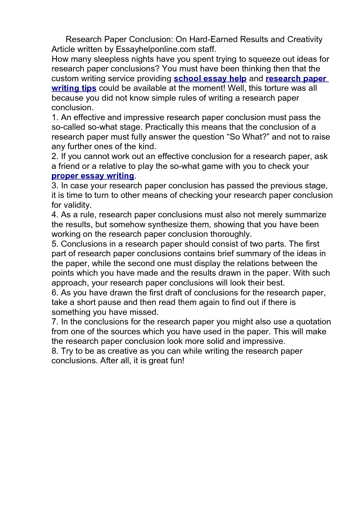 Research Paper Conclusion Paragraph Custom Writing Service