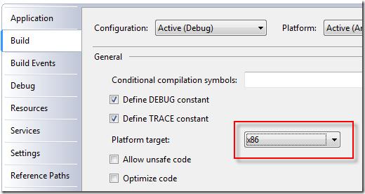 Visual Studio Platform Target x86