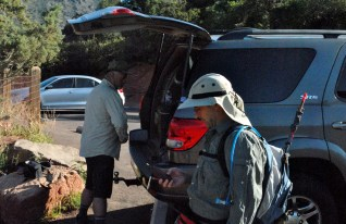 My brother and Mark suiting up at the trail head.