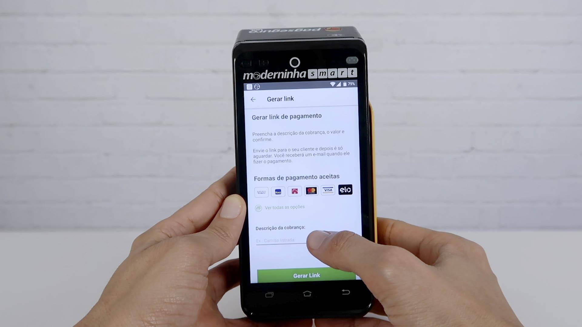 link de pagamento máquina de cartão moderninha smart