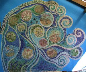 A mosaic about Taliesin at Ynyslas nature reserve