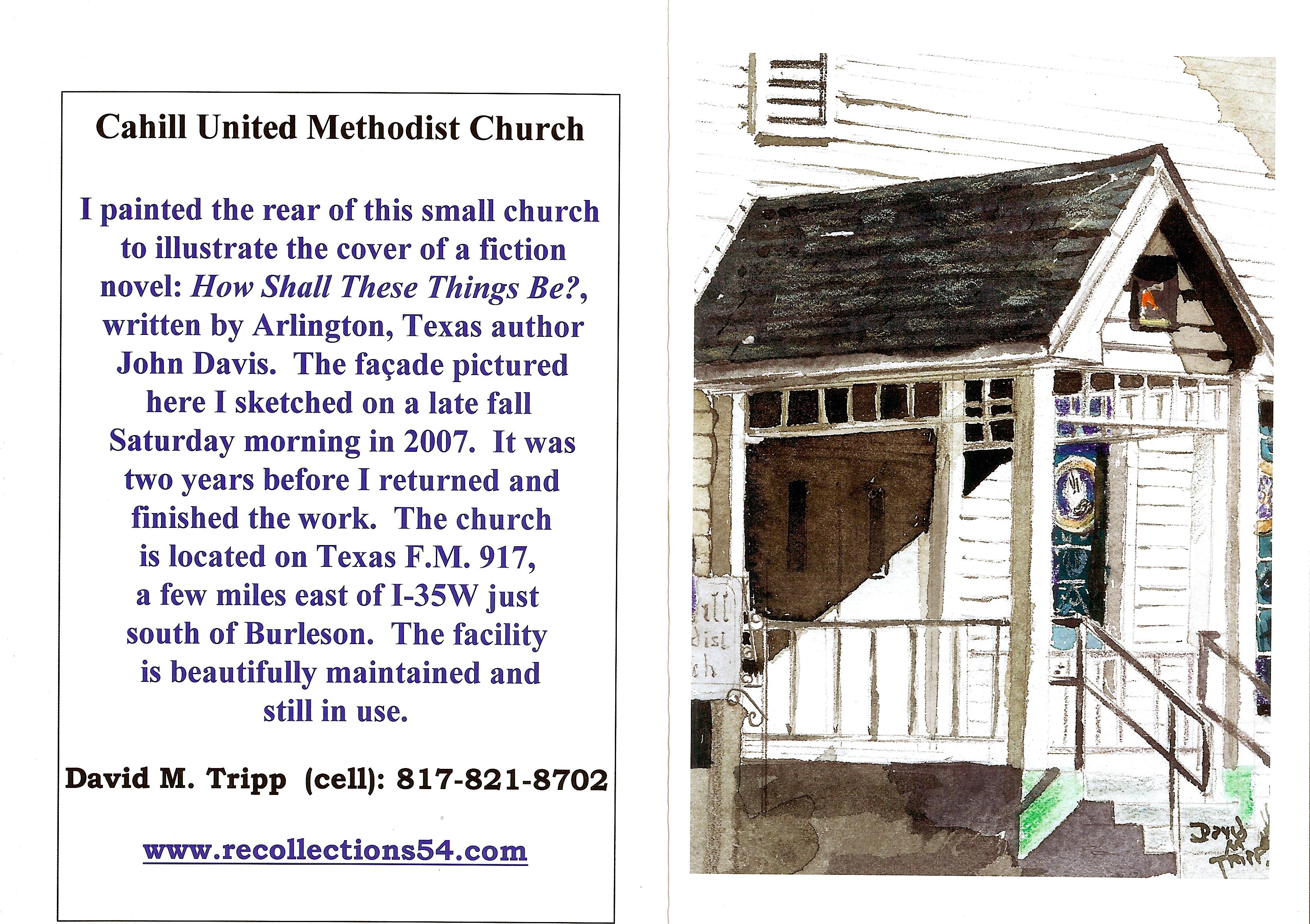 Facade of small Methodist Church south of Fort Worth, near Joshua, Texas