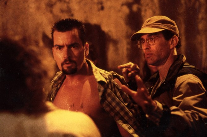 Charlie Sheen and David Twohy, Taxco Mexico, ARRIVAL, 1995.