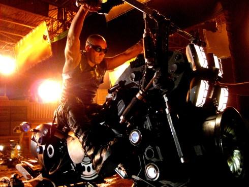 Vin Diesel on jet hog, Montreal, RIDDICK, 2012.