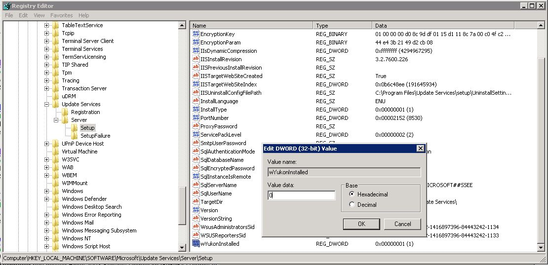 EXBlog: WSUS won't uninstall or re-install