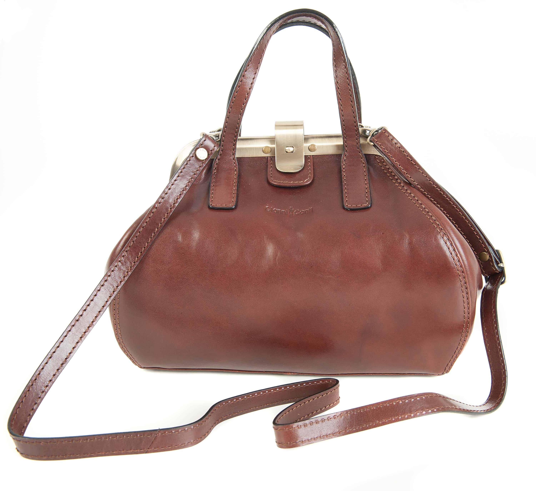 8c77f79d4c Gianni Conti Fine Italian Leather Dark Brown Gladstone Grab Shoulder Bag  903882