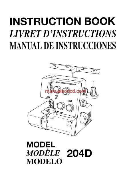 Owners manual for jenome serger sc793d