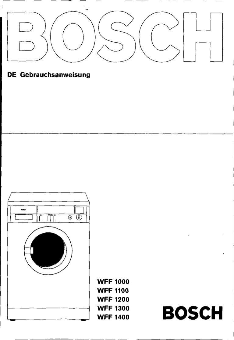Bosch wvf 2402 manual pdf