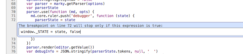 Screenshot showing a conditional breakpoint that assigns a local variable to window._STATE