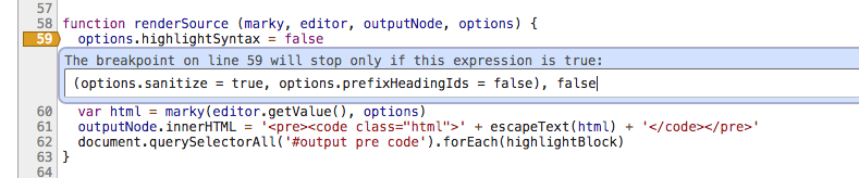 Screenshot showing some code assigning values to properties on an object held locally inside a function