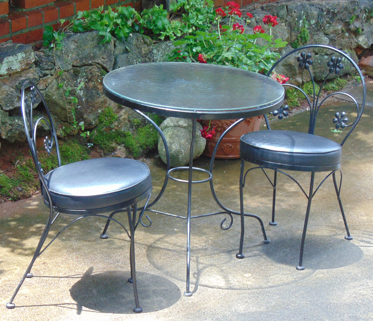 vintage wrought iron table and chairs shooting chair with rest items for sale david watkins designs