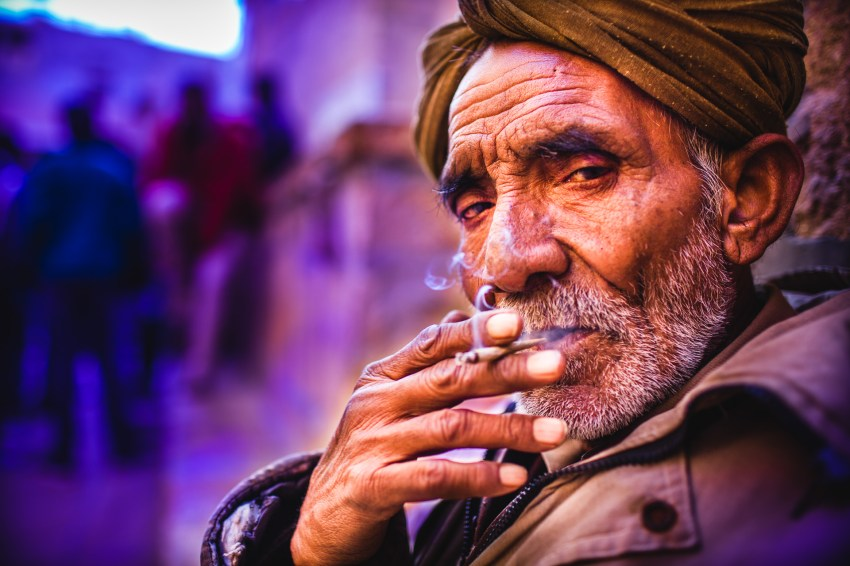 This could be my father. He used to smoke, too, but he never wore a turban. When I'll be back home, I'll do some portraits with him. Jaisalmer, India, 2014.