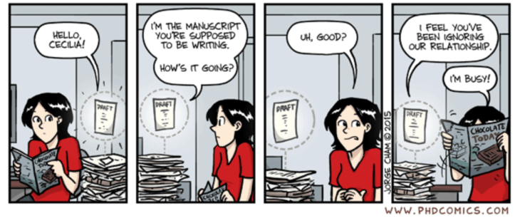 The challenges of publishing a book, cartoon showing procrastination!