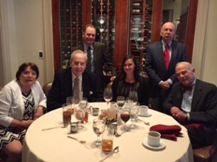 Mary Callahan, George Farr, Stephen Gibson, Michael Neiditch and Jon Fuller meet new scholar Melissa Hopkins for lunch