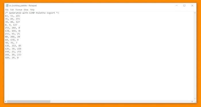 Tutorial Paleta GIMP Código CSS Documento Organizado