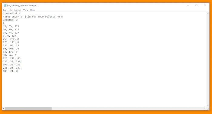 GIMPパレットチュートリアルコードCSSドキュメントとタイトル
