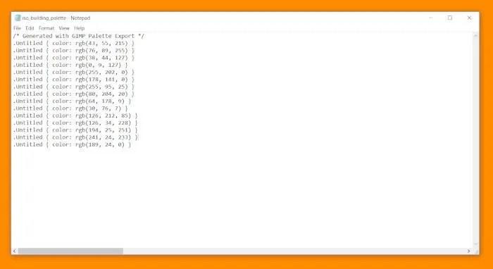 GIMP Palette Tutorial Code CSS Document